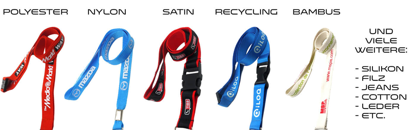 lanyards materialien polyester nylon satin